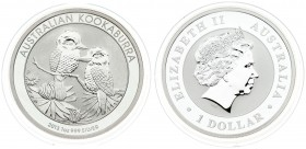 Australia 1 Dollar 2013 Australian Kookaburra. Averse: 4th portrait of Queen Elizabeth II facing right wearing the Girls of Great Britain and Ireland ...