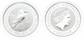 Australia 1 Dollar 2015 25th Anniversary of the Australian Kookaburra. Averse: 4th portrait of Queen Elizabeth II facing right wearing the Girls of Gr...