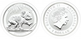 Australia 1 Dollar 2016 Koala. Averse: 4th portrait of Queen Elizabeth II facing right wearing the Girls of Great Britain and Ireland Tiara. Lettering...