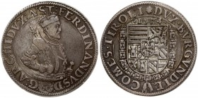 Austria 1 Thaler 1574 Hall. Ferdinand II of Tyrol(1564-1595). Averse: Half size crowned portrait right in armour; 2 lines of designs on the armour. Le...