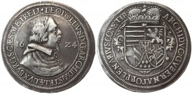 Austria 1 Thaler 1624 Hall. Archduke Leopold as Bishop of Strassburg (1607-1626). Av.: Bust r. in clerical robes divides date 16 - Z4; title ends ET R...