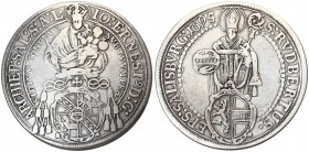 Austria Salzburg 1 Thaler 1695/4 Johann Ernst(1687-1709). Averse: Madonna and child above Cardinals' hat and shield. Averse Legend: IO: ERNEST: D:G: ....