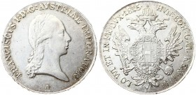Austria 1 Thaler 1815 A Vienna. Franz I. (1804-1835). Av.: Laureate head right. Rv.: Crowned imperial double eagle facing with wings spread holding sc...