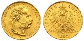 Austria 8 Florins-20 Francs 1892 Restrike. Franz Joseph I(1848-1916). Averse: Laureate head right; heavy whiskers. Reverse: Crowned imperial double ea...