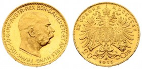 Austria 20 Corona MDCCCCXV 1915 Restrike. Franz Joseph I(1848-1916). Averse: Head of Franz Joseph I; right. Reverse: Crowned imperial double eagle. Go...