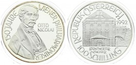 Austria 100 Schilling 1992 Averse: Theater building; value below. Reverse: Bust of Otto Nicolai; 3/4 right. Edge Description: Reeded. Silver. KM 3005....