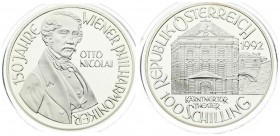 Austria 100 Schilling 1992 Averse: Theater building; value below. Reverse: Bust of Otto Nicolai; 3/4 right. Edge Description: Reeded. Silver. KM 3005