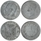 Belgium 1 Franc 1867 & 1910. Averse: Head left. Reverse: Crowned arms on ornate shield divide denomination. Silver. KM 28.1; 73.1. Lot of 2 Coins