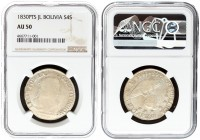 Bolivia 4 Soles 1830PTS JL Averse: Additional mint mark on lower part of island. Reverse: Uniformed bust right. Silver. KM 96a.2. NGC AU 50