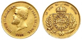 Brazil 5000 Reis 1856 Pedro II(1831 - 1889)). Averse: Head left. Reverse: Crowned arms within wreath. Gold. KM 470