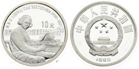 China 10 Yuan 1990 Averse: National emblem; date below. Reverse: Ludwig van Beethoven; seated at piano; denomination above. Silver. KM 307