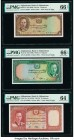 Afghanistan Bank of Afghanistan 2; 5; 10 Afghanis ND (1939) Pick 21; 22; 23a Three Examples PMG Gem Uncirculated 66 EPQ (2); Choice Uncirculated 64.  ...