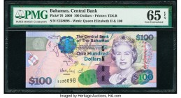 Bahamas Central Bank 100 Dollars 2009 Pick 76 PMG Gem Uncirculated 65 EPQ.   HID09801242017  © 2020 Heritage Auctions | All Rights Reserved
