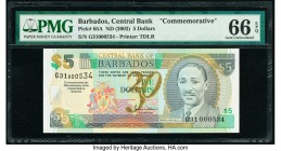 Barbados Central Bank 5 Dollars ND (2002) Pick 65A Commemorative PMG Gem Uncirculated 66 EPQ.   HID09801242017  © 2020 Heritage Auctions | All Rights ...