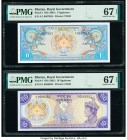Bhutan, Kazakhstan, and Lao Group of 4 Graded Examples PMG Superb Gem Unc 67 EPQ (2); Gem Uncirculated 66 EPQ; Gem Uncirculated 65 EPQ.   HID098012420...