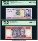 Bolivia, Brazil and Ecuador Group Lot of 4 Graded Examples PCGS Superb Gem New 68PPQ (2) PMG Superb Gem Unc 67 EPQ; PMG Gem Uncirculated 66 EPQ.   HID...