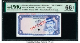 Brunei Government of Brunei 1 Ringgit ND (1972-88) Pick 6s KNB6S Specimen PMG Gem Uncirculated 66 EPQ. One POC and red Specimen overprints.  HID098012...