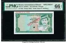 Brunei Government of Brunei 5 Ringgit ND (1979-86) Pick 7s KNB7S Specimen PMG Gem Uncirculated 66 EPQ. One POC and red Specimen overprints.  HID098012...