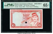 Brunei Government of Brunei 10 Ringgit ND (1976-86) Pick 8s KNB8S Specimen PMG Gem Uncirculated 65 EPQ. One POC and red Specimen overprints.  HID09801...