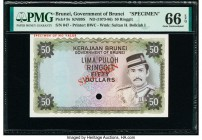 Brunei Government of Brunei 50 Ringgit ND (1973-86) Pick 9s KNB9S Specimen PMG Gem Uncirculated 66 EPQ. One POC and red Specimen overprints.  HID09801...