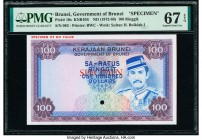 Brunei Government of Brunei 100 Ringgit ND (1972-88) Pick 10s KNB10S Specimen PMG Superb Gem Unc 67 EPQ. One POC and red Specimen overprints.  HID0980...