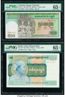 Burma Union of Burma Bank 100 Kyats ND (1976) Pick 61 PMG Gem Uncirculated 65 EPQ; Cambodia Banque Nationale 500 Riels ND (1958-70) Pick 9c PMG Gem Un...