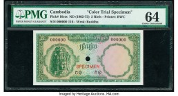 Cambodia Banque Nationale du Cambodge 5 Riels ND (1962-75) Pick 10cts Color Trial Specimen PMG Choice Uncirculated 64. Red Specimen overprints and one...