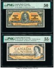 Canada Bank of Canada $50 1937; 1954 BC-26b; BC-42b Two Examples PMG About Uncirculated 50; About Uncirculated 55 EPQ.   HID09801242017  © 2020 Herita...