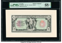 Canada Toronto, ON- Canadian Bank of Commerce $5 2.1.1917 Ch.# 75-16-02-04P1 Two Front Proofs PMG Superb Gem Unc 68 EPQ; Gem Uncirculated 66 EPQ.   HI...
