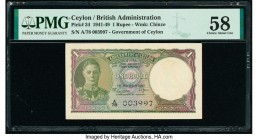 Ceylon Government of Ceylon 1 Rupee 1.3.1947 Pick 34 PMG Choice About Unc 58.   HID09801242017  © 2020 Heritage Auctions | All Rights Reserved