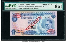 Ceylon Central Bank of Ceylon 50 Rupees 10.26.1970 Pick 77s Specimen PMG Gem Uncirculated 65 EPQ. Red Specimen & TDLR overprints along with one POC.  ...