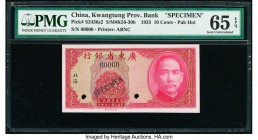 China Kwangtung Provincial Bank 10 Cents 1935 Pick S2436s2 S/M#K56-30b Specimen PMG Gem Uncirculated 65 EPQ. Specimen overprints and two POCs.  HID098...