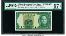 China Kwangtung Provincial Bank 20 Cents 1935 Pick S2437s6 S/M#K56-32a Specimen PMG Superb Gem Unc 67 EPQ. Black Specimen overprints and two POCs.  HI...