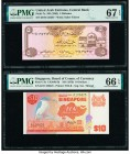China, Namibia, Singapore and United Arab Emirates Group of 5 Graded Examples PMG Superb Gem Unc 68 EPQ; Superb Gem Unc 67 EPQ; Gem Uncirculated 66 EP...