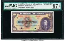 Colombia Banco de la Republica 10 Pesos Oro 12.10.1949 Pick 389ds Specimen PMG Superb Gem Unc 67 EPQ. Two POCs.  HID09801242017  © 2020 Heritage Aucti...