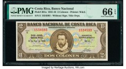 Costa Rica Banco Nacional de Costa Rica 2 Colones 12.11.1943 Pick 201a PMG Gem Uncirculated 66 EPQ.   HID09801242017  © 2020 Heritage Auctions | All R...