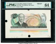 Costa Rica Banco Central de Costa Rica 100 Colones ND (1988-90) Pick 254p Proof PMG Choice Uncirculated 64. Third party grading company mentions print...