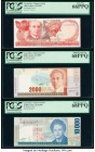 Costa Rica Banco Central de Costa Rica 1000; 2000; 10,000 Colones 2005 (2); 2007 Pick 264f; 265e; 267e Three Examples PCGS Gem New 66PPQ; Superb Gem N...
