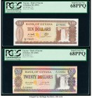 Costa Rica Banco Central de Costa Rica 2000 Colones 2009 Pick 275 PCGS Superb Gem New 68PPQ; Guyana Bank of Guyana 10; 20; 50 Dollars ND (1992); ND (1...
