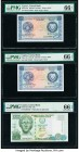 Cyprus Central Bank of Cyprus 250 Mils (2); 10 Pounds 1.8.1976; 1.6.1979; 1.4.2005 Pick 41c (2); 62e Three Examples PMG Gem Uncirculated 66 EPQ (3).  ...