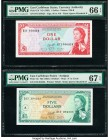 East Caribbean States Currency Authority 1; 5 Dollars ND (1965) Pick 13f; 14i Two Examples PMG Gem Uncirculated 66 EPQ; Superb Gem Uncirculated 67 EPQ...