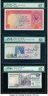 Egypt National Bank of Egypt 10; 100; 20 Pounds 1952-60; 1992; 2015 Pick 32; 53b; 65k Three Examples PMG Superb Gem Unc 67 EPQ (2); Choice Uncirculate...