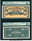El Salvador Banco Agricola Comercial 10 Pesos 189x Pick S103fp; S103bp Front and Back Proofs PMG Choice Uncirculated 64 EPQ; Gem Uncirculated 66 EPQ. ...