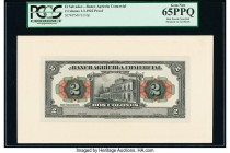 El Salvador Banco Agricola Comercial 2 Colones 1922 Pick S110p Proof PCGS Gem New 65PPQ. Mounted on cardstock; hole punch cancelled.  HID09801242017  ...