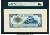El Salvador Banco Occidental 5 Colones 1920 Pick S194Afp; S194Abp Front and Back Proofs PMG Superb Gem Unc 67 EPQ; Superb Gem Unc 68 EPQ. Mounted on c...