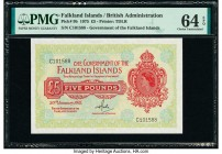 Falkland Islands Government of the Falkland Islands 5 Pounds 30.1.1975 Pick 9b PMG Choice Uncirculated 64 EPQ.   HID09801242017  © 2020 Heritage Aucti...