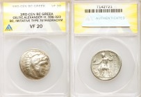DANUBE REGION. Balkan Tribes. Imitating Alexander III the Great. Ca. 3rd-2nd centuries BC. AR tetradrachm(27mm, 12h). ANACS VF 20. Celtic issue imitat...