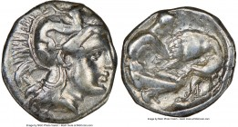 CALABRIA. Tarentum. Ca. 380-280 BC. AR diobol (11mm, 10h). NGC Choice VF. Ca. 325-280 BC. Head of Athena right, wearing crested Attic helmet decorated...