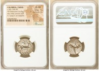 CALABRIA. Tarentum. Ca. 281-240 BC. AR didrachm (20mm, 6.45 gm, 2h). NGC Choice XF 5/5 - 3/5. Ialo-, Ie- and An, magistrates. Youth on horseback right...