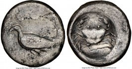SICILY. Acragas. Ca. 500-470 BC. AR didrachm (20mm, 7h). NGC Fine, smoothing, scratches, edge marks. Sea eagle standing left / Crab seen from above wi...